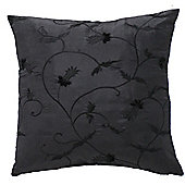Black Cushion with Embroidered Foliage with Insert Inner Filler Pad
