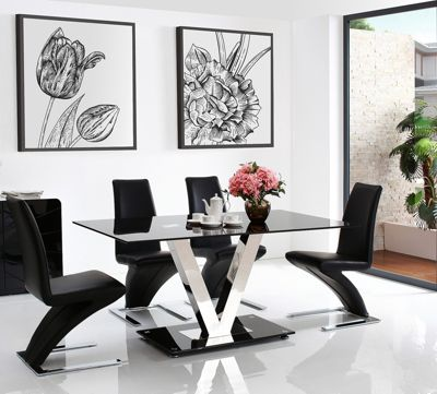 Vidal Black Glass 160 cm Dining Table with 6 Black Zed Chairs