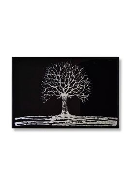 Black Glass Contemporary Liquid Glass Glitter Tree Frameless Rectangle 100X61cm