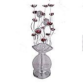 Aluminium Flower Floor Lamp, Silver & Red