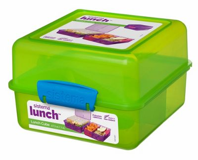 Sistema 3 Compartment 1.4L Lunch Cube Box, Green