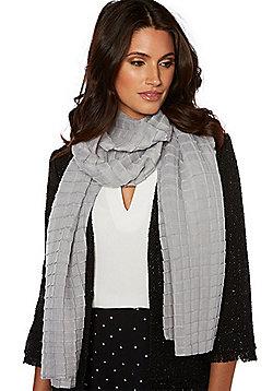 F&F Glitter Square Pleat Scarf - Grey