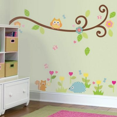 Baby Wall Stickers, Kids Wall Stickers, Nursery Wall Stickers - Happi Baby Scroll Tree Branch