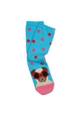 F&F Pug in Sunglasses Ankle Socks Blue/Pink One Size