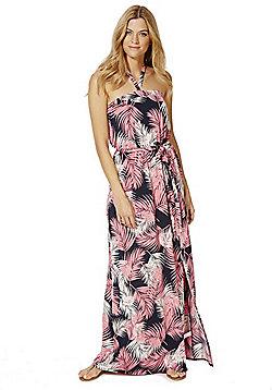 F&F Palm Leaf Print Maxi Dress - Navy