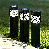 Set of 3 Warm White LED Solar Bollard Stake Lights