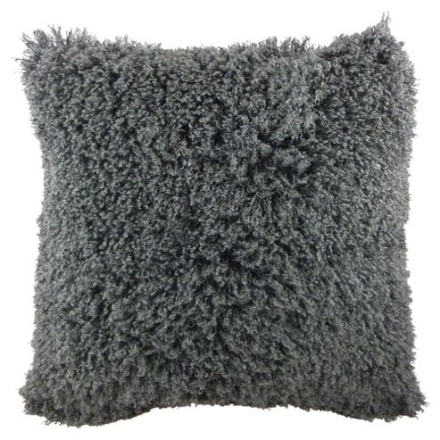 Faux Mongolian Cushion Grey