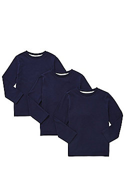 F&F 3 Pack of Long Sleeve T-Shirts - Navy