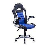 Homcom Swivel Office Chair PU Leather Racing Gaming Computer Chair Blue and Black