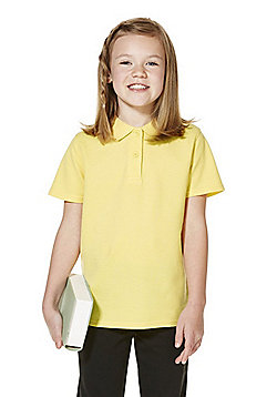 """F&F School 2 Pack of Girls Teflon EcoElite""""™ Polo Shirts with As New Technology - Yellow"""