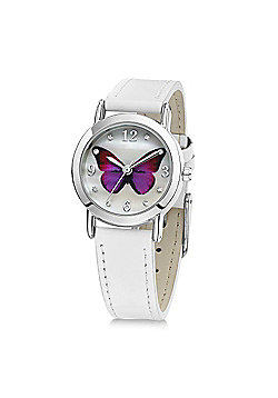Jo For Girls Pink Butterfly White Leather Watch