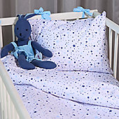 Cot Bed Duvet Cover Set 100% Cotton Percale – Twinkling Blue Stars
