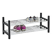 2-Tier Stackable Shoe Rack - Black
