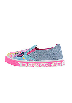 Girls My Little Pony MLP Casual Canvas Blue Glitter Sparkle Shoes UK Sizes 6 to 12 - Blue