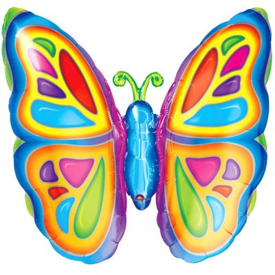 Bright Butterfly Foil Balloon - 25 inch Foil
