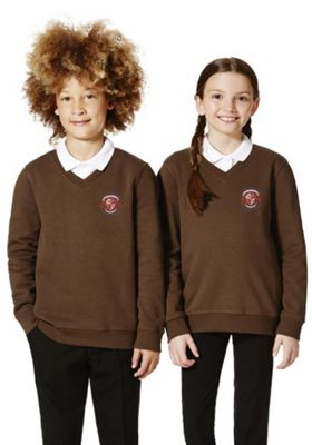 Unisex Embroidered V-Neck School Sweatshirt with As New Technology 11-12 years Brown