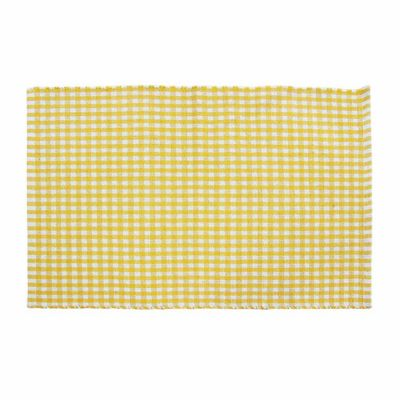 Homescapes Cotton Gingham Check Rug Hand Woven Yellow White, 60 x 90 cm