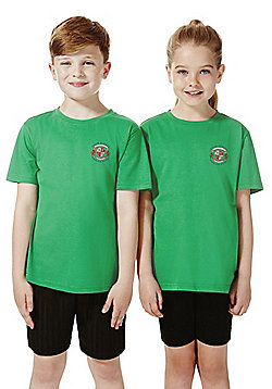 Unisex Embroidered Sports T-Shirt - Emerald green