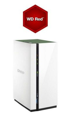 QNAP TS-228A/16TB-RED 2-Bay 16TB (2x8TB WD RED) Lightweight and powerful entry-level NAS for private cloud and home entertainment