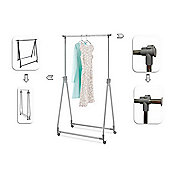 Collapsible Garment Rail With Wheels - Steel