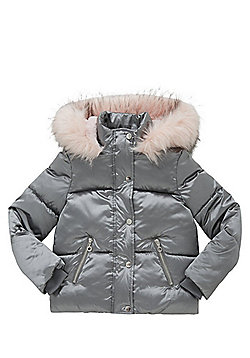 F&F Faux Fur Trim Metallic Padded Jacket - Silver