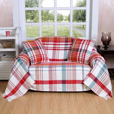 Homescapes Red Tartan 100% Cotton Falun Throw with Tassels, 255 x 360 cm