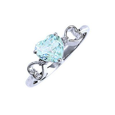 QP Jewellers Diamond & Aquamarine Trinity Heart Ring in 14K White Gold - Size G