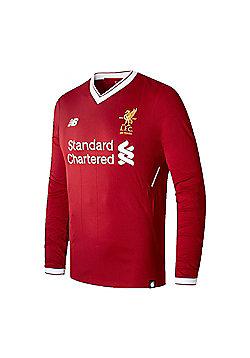 New Balance Liverpool 2017/18 Mens Long Sleeve Home Football Shirt Red - 2XL - Red
