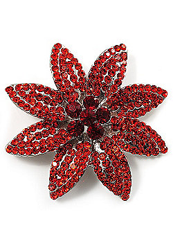 Carrot Red Swarovski Crystal Bridal Corsage Brooch (Silver Tone)