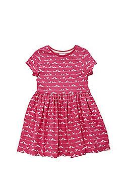 F&F Bird Print Flared Jersey Dress - Pink