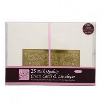 Anitas Card Packs - 25 Pack - A5 Cream.