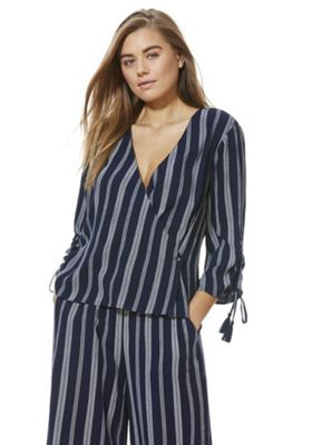F&F Rope Stripe Wrap Blouse Navy 18