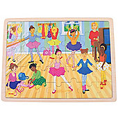 Bigjigs Toys Ballet Scene Wooden Tray Puzzle for Children - 35 Piece Puzzle