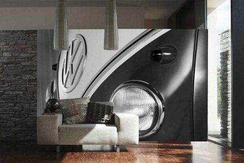 1Wall Volkswagen Camper Van Wall Mural - Black and White