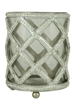 Clear Glass And Nickel Glitz Cross Tealight Holder (13cm)