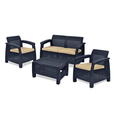 Gardenista Replacement Seat Pad 4 Piece Set for Keter Allibert Corfu Patio Set - Stone