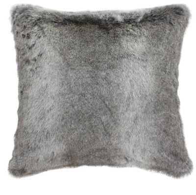Grey Arctic Wolf Faux Fur Cushion Sofa Living Area Decor