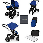 ickle Bubba V2 Stomp AIO Travel System with Mosquito Net - Blue (Silver Chassis)