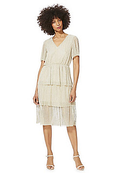 Vero Moda Tiered Metallic Plisse Dress - Pale Gold