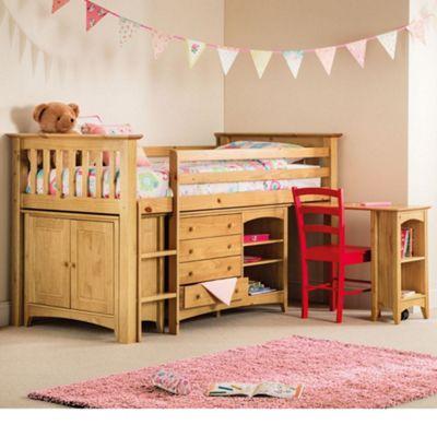 Happy Beds Barcelona Left Hand Ladder Wood Kids Midsleeper Cabin Desk Storage Bed with Open Coil Spring Mattress - Antique Pine - 3ft Single