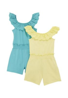 F&F 2 Pack of Broderie Anglaise Frill Playsuits Green/Yellow 5-6 years