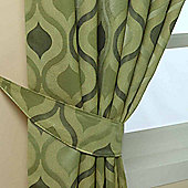 Homescapes Green Jacquard Tie Back Pair Modern Wave Pattern Design