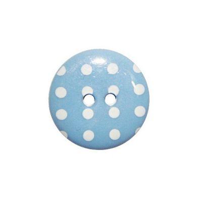 Hemline Sky Blue Polka Dot Buttons 17.5mm 4pk