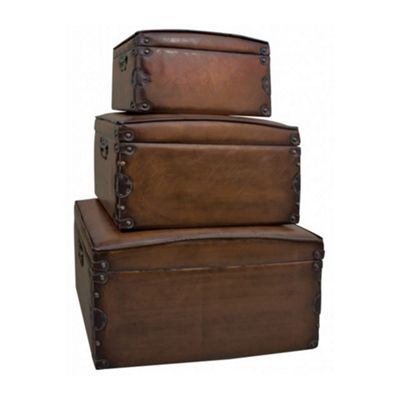 Set Of 3 Faux Leather Storage Boxes