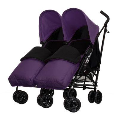 Obaby Apollo Black & Grey Twin Stroller with 2 Purple Footmuffs - Purple