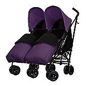 Obaby Apollo Black & Grey Twin Stroller with 2 Purple Footmuffs - Purple