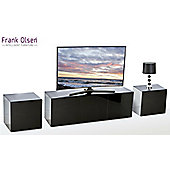 Frank Olsen Black INTEL1100BLK TV Cabinet and 2 x INTELLAMP-BLK Lamp Tables