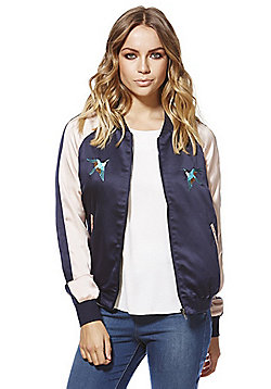 Only Noise Embroidered Satin Bomber Jacket - Navy