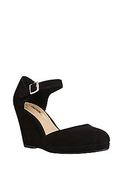 F&F Sensitive Sole Wedge Mary Jane Shoes - Black