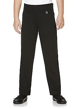 F&F School Girls Heart Fob Jersey Trousers - Black